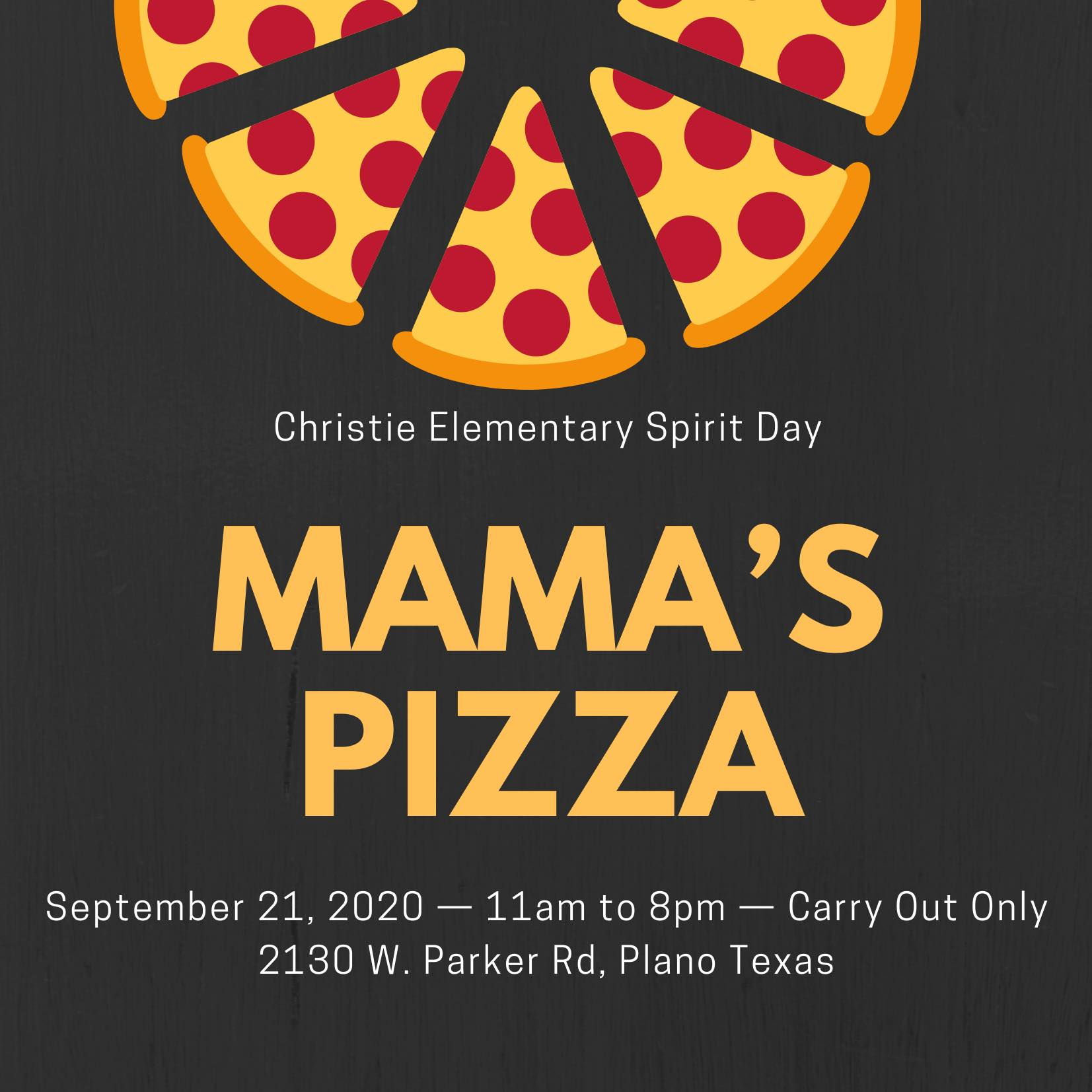 Mama's Pizza fundraiser info
